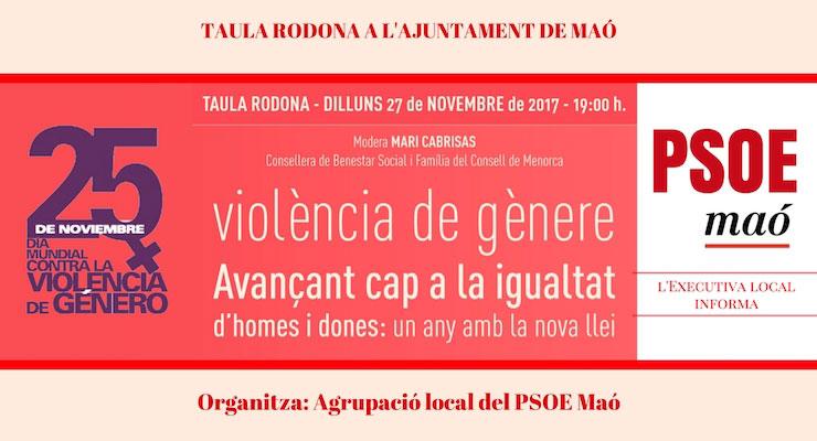 Taula Rodona del PSOE Maó a l'Ajuntament de Maó per tractar el tema de la Violència de Gènere