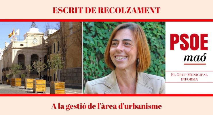 Escrit de recolzament a la gestió de l'àrea d'urbanisme a l'Ajuntament de Maó Dolors Antonio